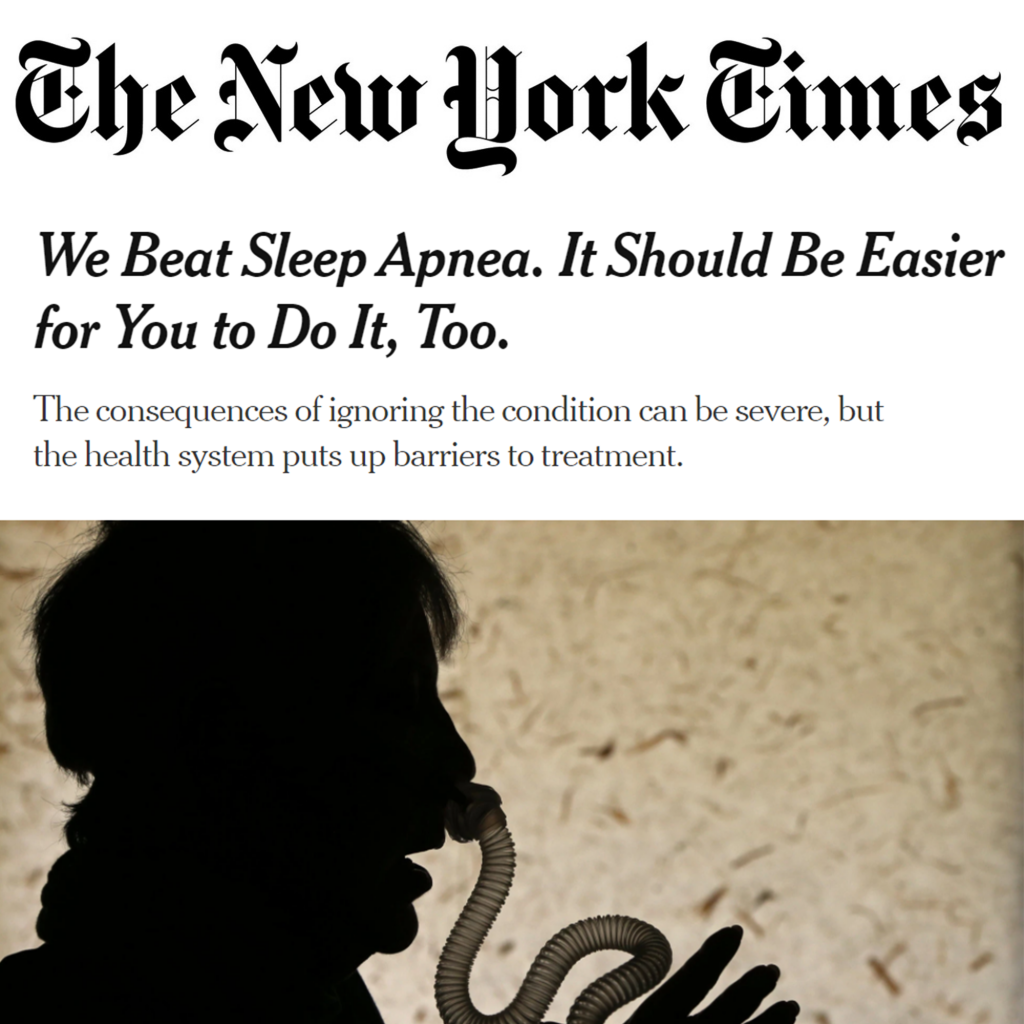 """Screenshot of a New York Times article titled """"We Beat Sleep Apnea. It Should Be Easier for You to Do It, Too."""" The article title features a picture of a silhouette using a CPAP mask, which looks like a clear tube attached to the nose of the patient."""