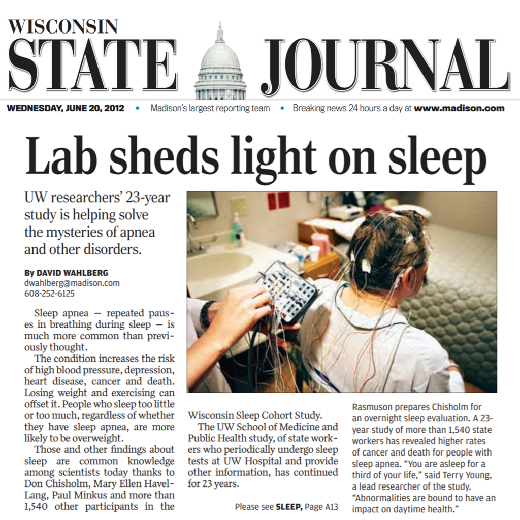 """Screenshot of a Wisconsin State Journal article titled """"Lab sheds light on sleep."""" The article features a picture of a participant connected to many wires acting as sensors that will be used to monitor the participant."""