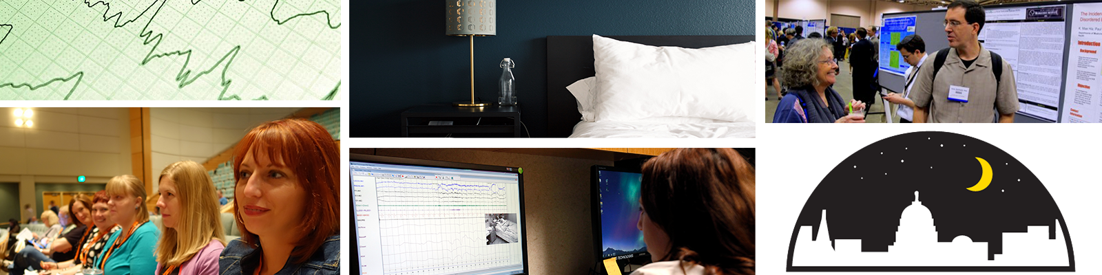 Banner photo, a collage of different things relating to the SLEEP cohort study, including a chart depicting breathing or heart rate, women sitting in a lecture hall, a bed and a nightstand, a woman working performing research on a computer, a man presenting research at a convention, and the SLEEP logo, which is a crescent moon over the Madison skyline.